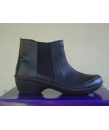 NEW EASY SPIRIT BLACK BROWN LEATHER WEDGE BOOTS SIZE 7.5 M SIZE 8.5 SIZE... - $39.99