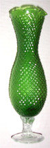 Vintage Handblown & Hand Designed Diamond Cut Style Slender Green Glass ... - $67.99