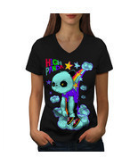 High Evil Panda China Shirt Rainbow Women V-Neck T-shirt - £9.52 GBP