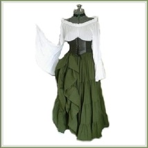 Medieval Maiden High Waist Cincher Flare Sleeve Top Moss Green Full Celt... - $99.95