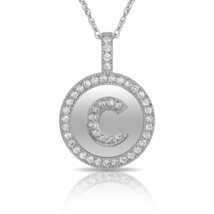 """14K Solid White Gold Round Circle Initial """"C"""" Letter Charm Pendant & Nec... - $30.99+"""