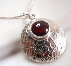 Garnet Round Convex Necklace 925 Sterling Silver Webbed Design Accents New - $22.72