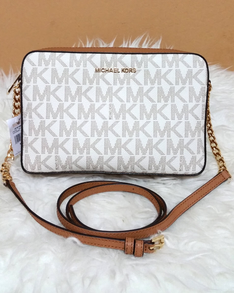 fd27c21fa4ee Michael Kors jet set large east west crossbody messenger Vanilla handbag NWT