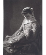 HAPPY MOTHER Cradling Her Sleeping Baby - Original Photogravure Print - $17.28