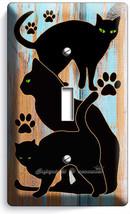 CUTE BLACK CATS RUSTIC PAINT WOOD SINGLE LIGHT SWITCH WALL PLATE ROOM HO... - $9.99