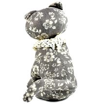 Delton Gray Floral Fabric Kitty Cat Jingle Bell Small Door Stopper Doorstop image 3