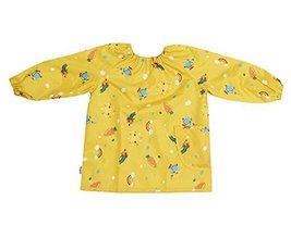 Waterproof Breathable Baby Bib Overclothes Painting Smock Apron YELLOW
