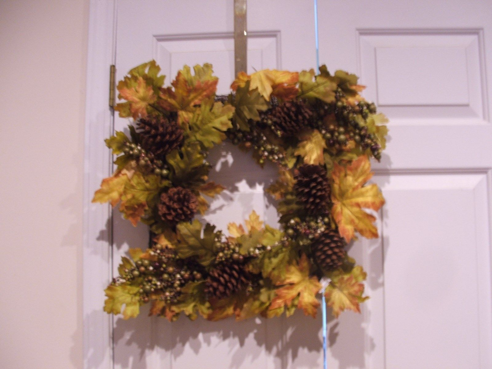 Nwt Pier 1 119 Large Square Fall Wildflower Pinecone Door Wreath 22 Across 61 37