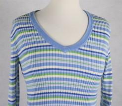 Tommy Hilfiger Womens Blue V-Neck Pullover Sweater Shirt Size Medium - $15.04