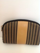 Authentic Vintage Fendi Pequin Pattern Small Makeup Pouch - $79.48