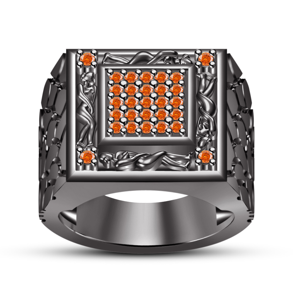 Primary image for 14k Black GP 925 Pure Silver Orange Sapphire Men's Kama Sutra Ring Free Shipping