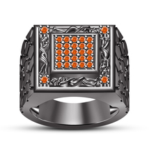 14k Black GP 925 Pure Silver Orange Sapphire Men's Kama Sutra Ring Free Shipping - $138.60