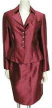 Talbots Burgundry Red Suit Sz 4 Blazer Jacket + Skirt Set Sheen Silk Ble... - $69.25