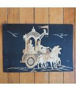 Vintage Straw Horse & Carriage South India Art Wall Decor 1970 Era Tiki - $49.49