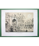 ENGLAND Kensington Holland House Courtyard View - Sepia Color Litho Print - $15.26