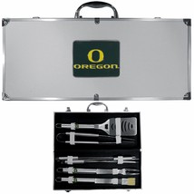 oregon ducks 8 pc tailgater stainless steel bbq set with metal case - $126.34