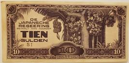 De Japansche Regeering Tien Gulden banknote, UNC, vintage - $3.95