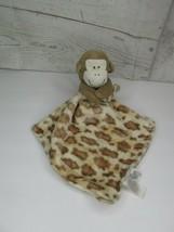 Animal Print Baby Blanket Monkey Rattle Baby Starters Lovey Security Blankey Tan - $24.74