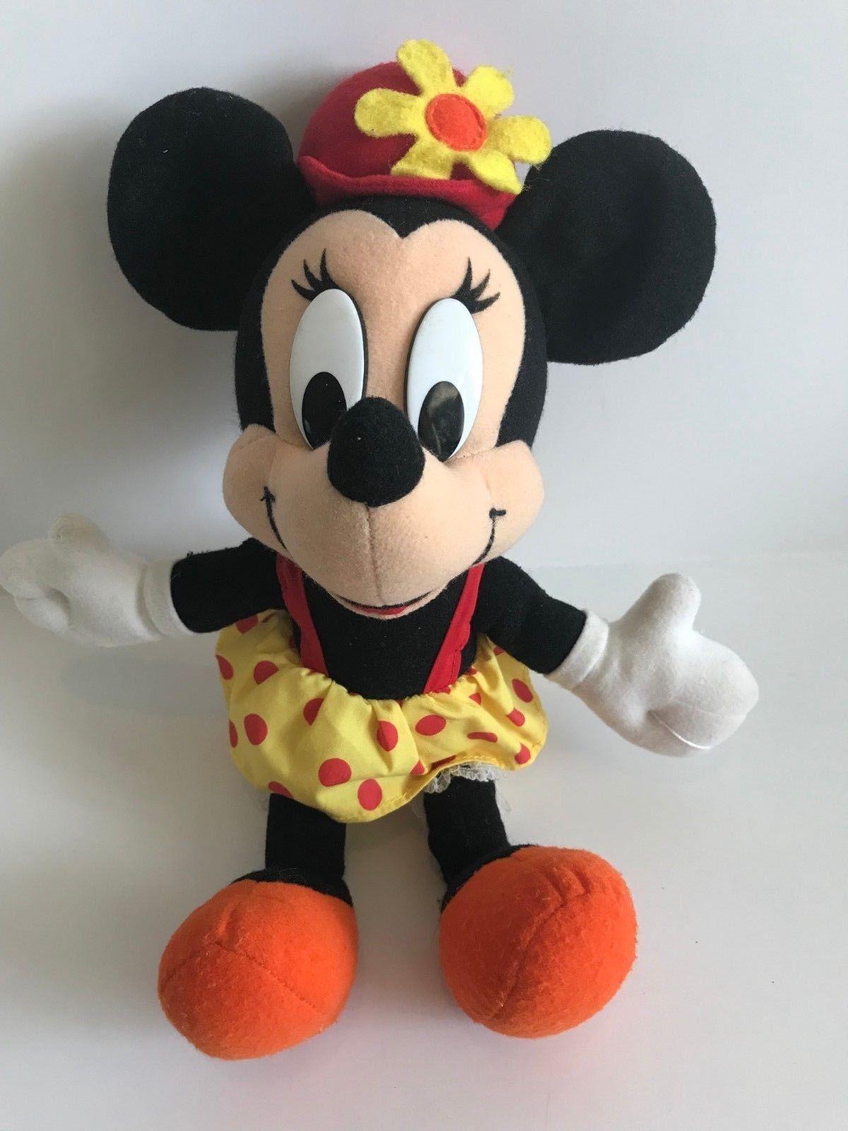 Mattel Arcotoys Minnie Mouse Yellow Red Polka Dot Flower Hat Plush Stuffed Doll