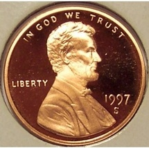 1997-S DCAM Proof Lincoln Cent PF65 #0481 - $7.99