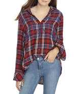 Free People Free People Magic Plaid Embroidery Shirt Red - $79.99