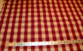 Burgundy Beige Plaid Print Fabric / Upholstery Fabric  1 Yard  F534 - $29.95