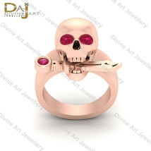 0.28ct Pink Diamond Skull Gothic Engagement Ring Skull With Knife Ring F... - £157.19 GBP+