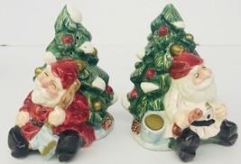 Wood Carved Santa Fitz & Floyd Ceramic Salt Pepper Shakers 1995 Christma... - £22.77 GBP