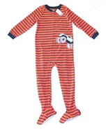 Boys Carters Fleece Footed Pajama Blanket Sleeper 6 7 8 10 Striped Monst... - $23.74