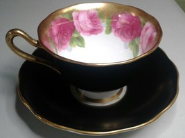 Royal Albert Old Country Roses Matte Black Teacup and Saucer - $23.01