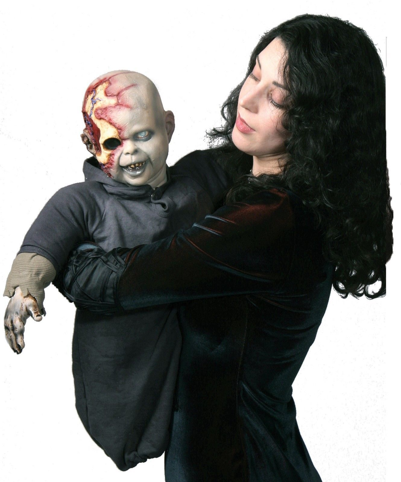 Zombie Baby Zack Puppet Latex Head & Hands Halloween Haunted House Prop