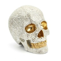 Gold & Silver Beads Skull Resin Skeleton Head Crafts Sculptures Statue F... - $38.12