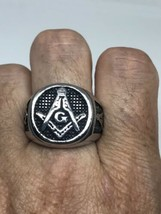 Vintage Free Mason Ring Silver Stainless Steel Size 9 - $34.65