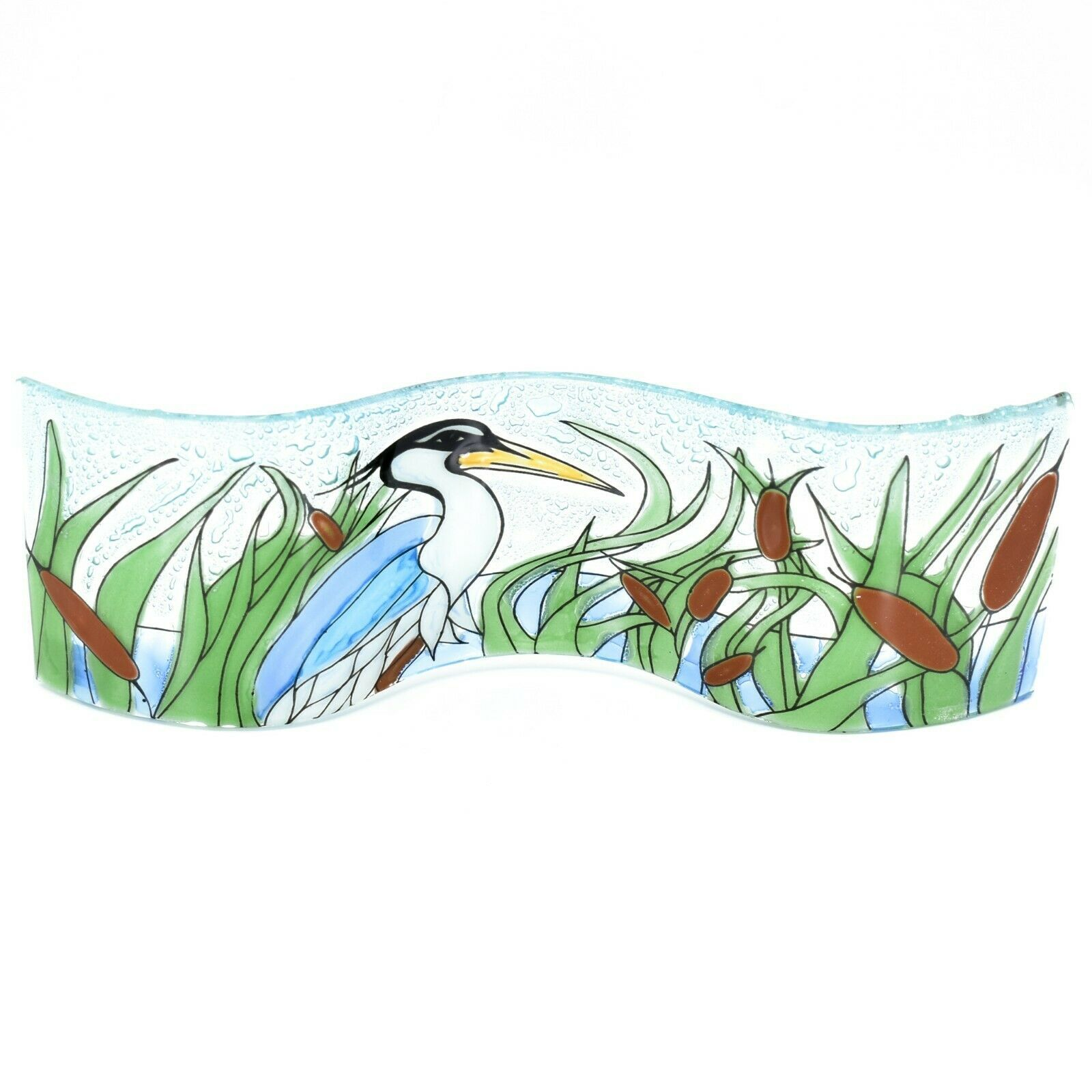 Fused Art Glass Blue Heron Cattails Wavy Decor Sun Catcher Handmade in Ecuador