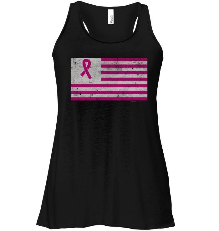 Vintage Breast Cancer Awareness USA Flag Flowy Racerback Tank