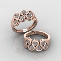 Solid 18k Rose Gold Antique  Asian Design White Diamond Womens Eternity Ring  - $1,039.99