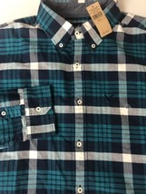 American Eagle Men Shirt Flannel Long Sleeve Button Up Down Plaid Madras XL - $18.46