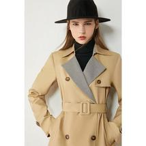 Women's European Autumn Winter Fashion Plaid Spliced Lapel Belted Trench Coat image 4