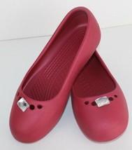 Crocs Prima Mujer Bailarina Zapatos Bajos Deslizables Rosa Talla 5 - $16.51