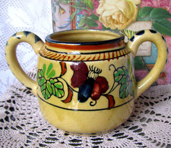 Tashiro Shoten Hand Painted Pottery Sugar Bowl - Rare Black Elephant Mar... - $17.56