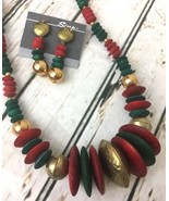 Vintage Chunky Hammered Wooden Disc Beaded Necklace Dangle Earrings Set ... - $15.10