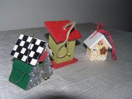 Vintage Lot of 3 Red & Cream Painted Wood & Metal Checkboard Roof Gingerbread  image 4