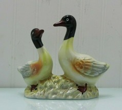 VINTAGE 1 piece with 2 Ceramic Duck Figurines Glazed. Made in Brazil 4209 - $11.64