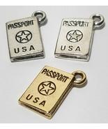 PASSPORT FINE PEWTER PENDANT CHARM - 12x16x3mm - $0.99