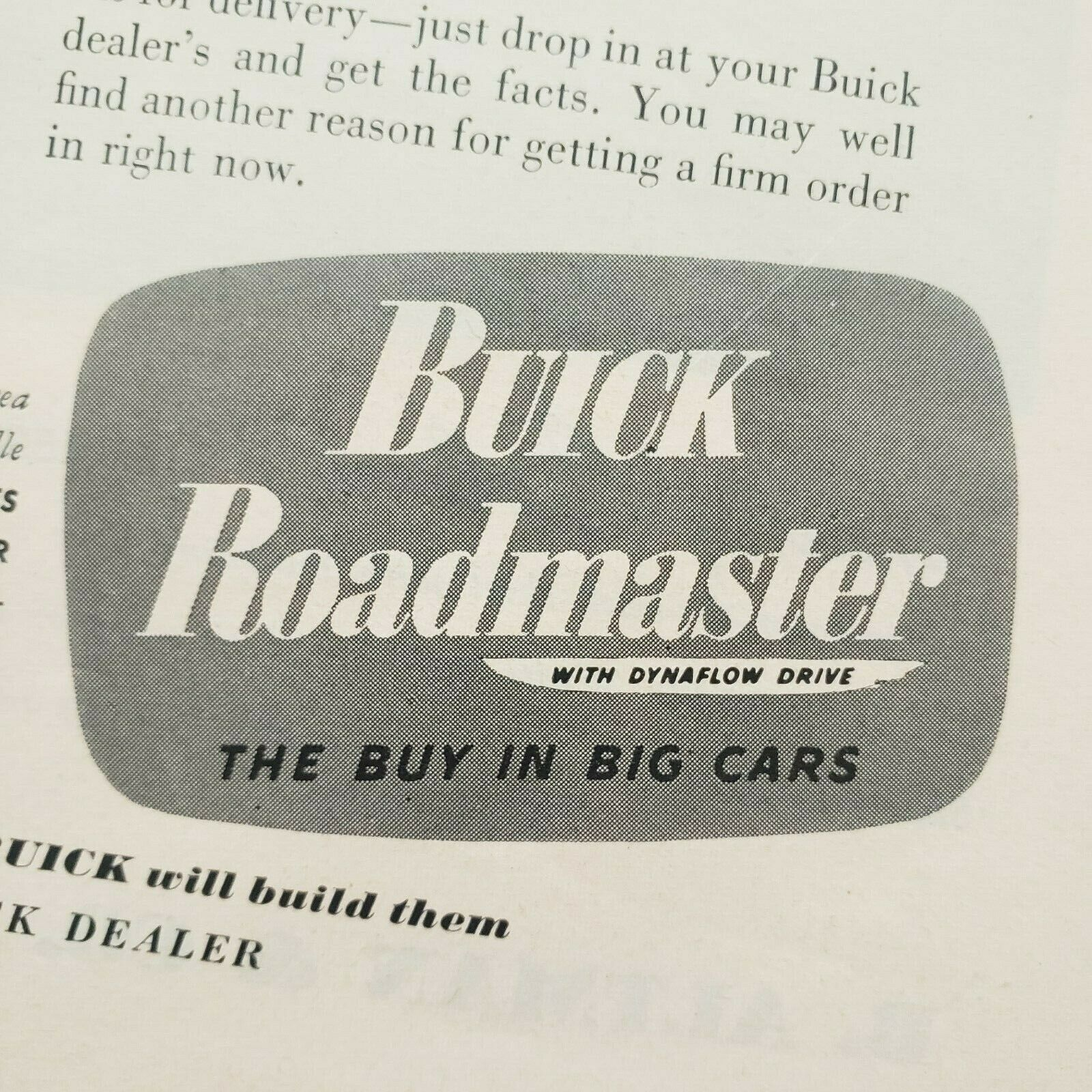 Primary image for 1949 Buick Print Ad Roadmaster With Dynaflow Drive