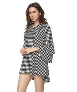 Houndstooth Bell Sleeves Tunic Top Plus Size - $42.00