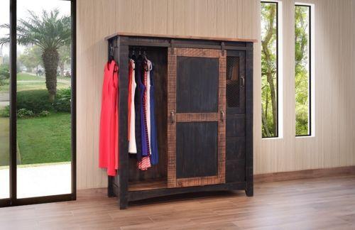 Black Eliza Sliding Barn Door Gentlemans Chest Armoire - Solid Wood - Quality