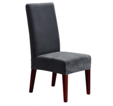 Stretch Oxford Short Dining Room Chair Slipcover Gray Sure Fit Machine W... - $14.84