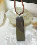 Necklace with Picasso Jasper pendant Suede Cord Men women Natural Stone - $19.79