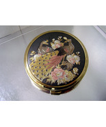 Vintage EISHO Japanese Enamel Peacocks Flowers Powder Compact Mirror - $20.00